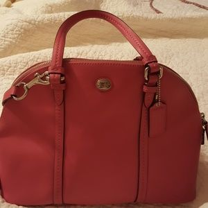 COACH PINK BOWLING BAG STYLE LEATHER PURSE